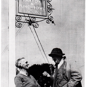 Cecil Lay (right) talking to a villager outside the Parrot and Punchbowl (courtesy of Michael Parkin)