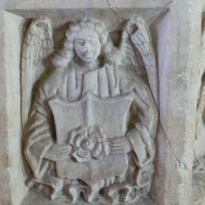 Font detail Angel bearing sheild with rose