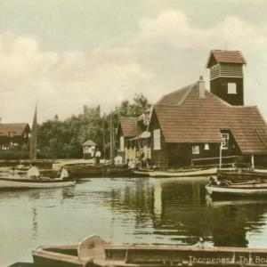 016 Circa 1930 Meare boathouse hand tinted postcard